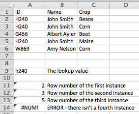 Excel using the INDEX function to find multiple lookup values in a list
