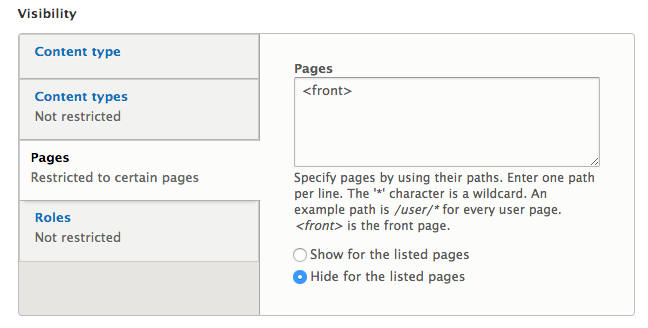 Drupal 8 - control visibility settings for the Page title block