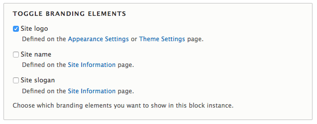Drupal 8 - settings for hiding or displaying the site logo, site name, and site slogan