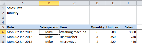 Excel 2010 freeze panes set