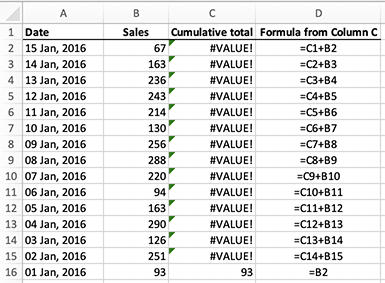 Excel - calculating a running total for a column of cells with a simple addition formula - broken by sorting by sales from highest to lowest