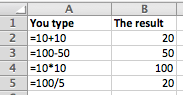 Excel examples of basic formulas