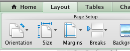 Excel 2011 layout menu preview