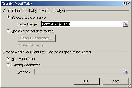 Excel, How to create a PivotTable, Create PivotTable dialog box