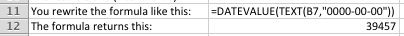 Excel example of DATEVALUE and TEXT functions combined to convert a number to a date