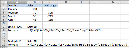 Excel, calculate sales drop over several months, worked examples using multiple IF functions and an alternative using one IF with the AND function.