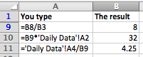 Excel formula examples linking to another worksheet where the name of the worksheet contains spaces