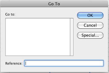The Excel Go To dialog box