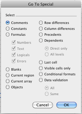 The full Excel Go To Special dialog box