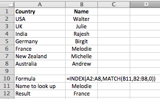 Microsoft Excel - using INDEX and MATCH to do what VLOOKUP can't do - go from left to right.