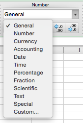 The Excel Number format options list