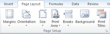 Excel Page Setup options on the Page Layout ribbon bar