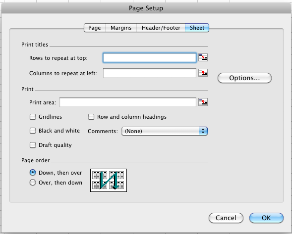 Excel 2011 Page Setup dialog with the Sheet tab selected