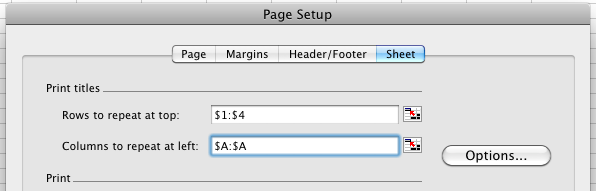 Excel for Mac Print Titles selection with example values entered