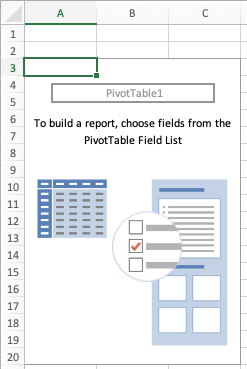Excel, How to create a PivotTable, blank PivotTable report
