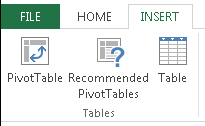 Excel Insert PivotTable button for Excel 2013