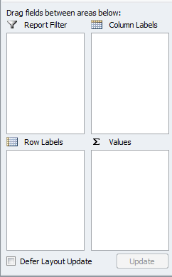 Excel PivotTable drag fields layout builder
