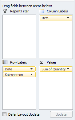 Excel PivotTable field layout with values populated