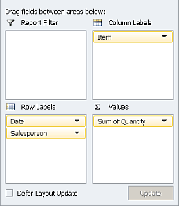 Excel Pivot Table Fields layout