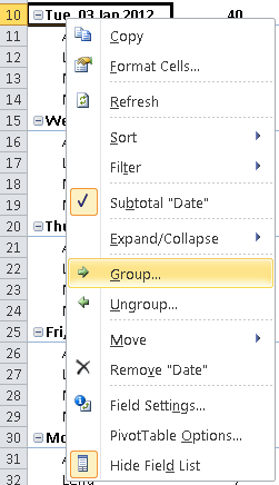 Excel creating a Pivot Table, grouping data in a pivot table by date