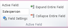 Excel Pivot Table ribbon toolbar buttons for expanding or collapsing an enter field.