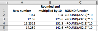 Excel ROUND function used inside a formula