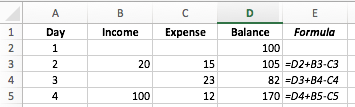Excel worksheet example showing a running balance