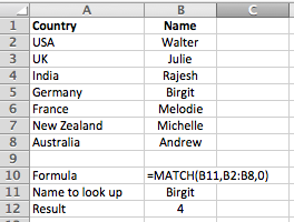 Excel simple example of the MATCH function in action