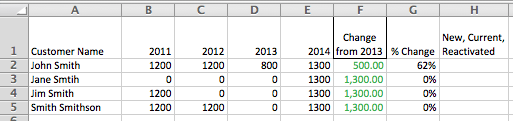 Excel worked example, calculating new or used customer