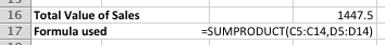 Excel's SUMPRODUCT function - worked example