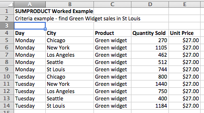 Excel SUMPRODUCT data table example
