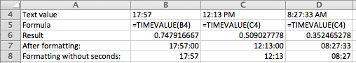 Excel, using the TIMEVALUE function to convert text to time values