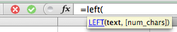 Excel, typing the LEFT function into a cell