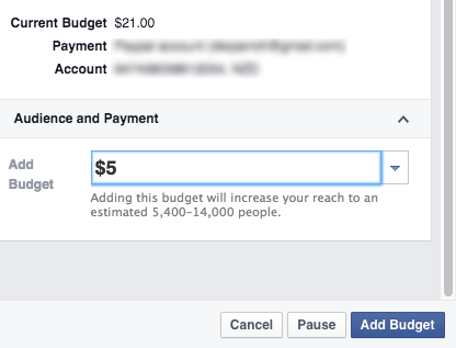 Facebook - add budget to a boosted post
