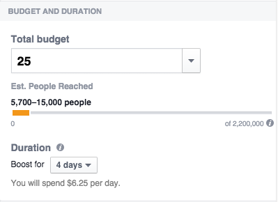 Facebook - setting a custom budget on a boosted post