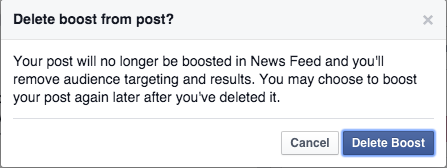 Facebook - warning message shown when deleting the boost on a post