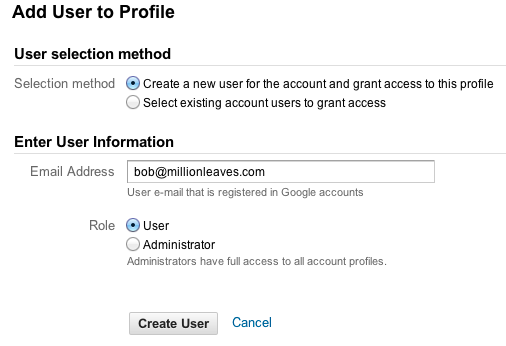 Google Analytics - add a new user to a profile