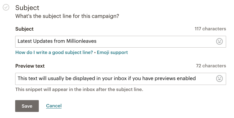 Mailchimp email campaign - add a Subject and Preview Text to your email campaign | Learn Mailchimp with Five Minute Lessons