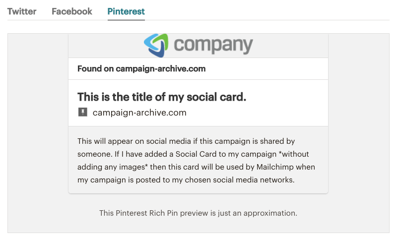 Mailchimp Social Cards - Pinterest preview | Learn Mailchimp with Five Minute Lessons