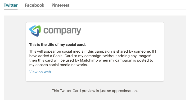 Mailchimp Social Cards - Twitter preview | Learn Mailchimp with Five Minute Lessons