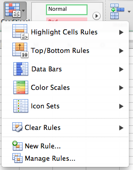 Microsoft Excel for Mac conditional formatting button expanded