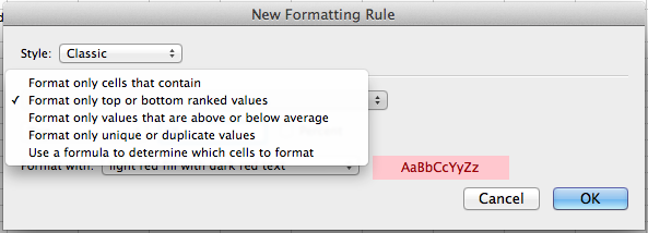 Microsoft Excel for Mac, configuring a conditional formatting rule based on a formula