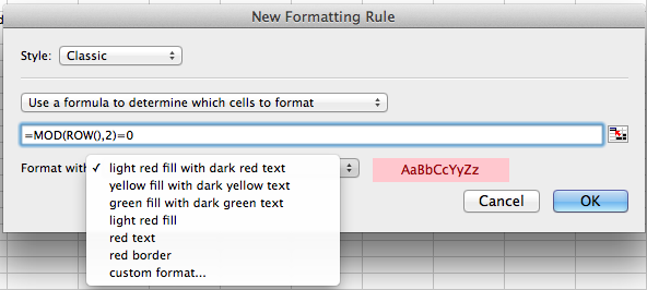 Microsoft Excel for Mac, conditional formatting based on a formula