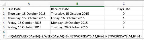 Example of the NETWORKDAYS function in Excel