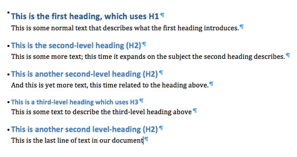 Microsoft Word selection of text that has built-in header styles applied
