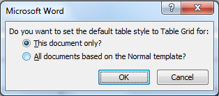 Microsoft Word - option box to set the default table style for all documents or just this one