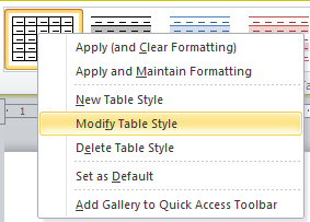 Microsoft Word, modify table style dropdown from table design toolbar