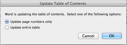 Microsoft Word table of contents update options