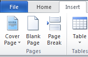 Microsoft Word for Windows, insert page break button